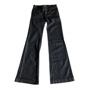 Anlo Wide Leg Flare Jeans Black Wash Button Pocket